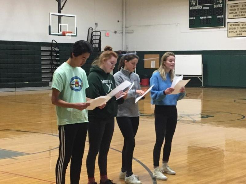"Students from Ms. Perkins's AP Literature class perform ""3D Monster Essays"" while their classmates develop thesis statements responding to the prompt, ""Is Shelly's Frankenstein a moral being?"""